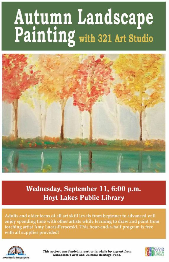 Free painting class, Wednesday, September 11 at 6:00 pm; Please preregister.